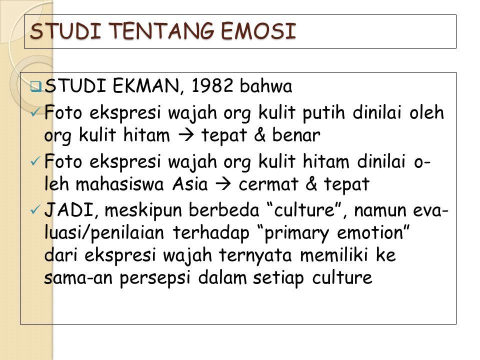 STUDI TENTANG EMOSI STUDI EKMAN, 1982 bahwa