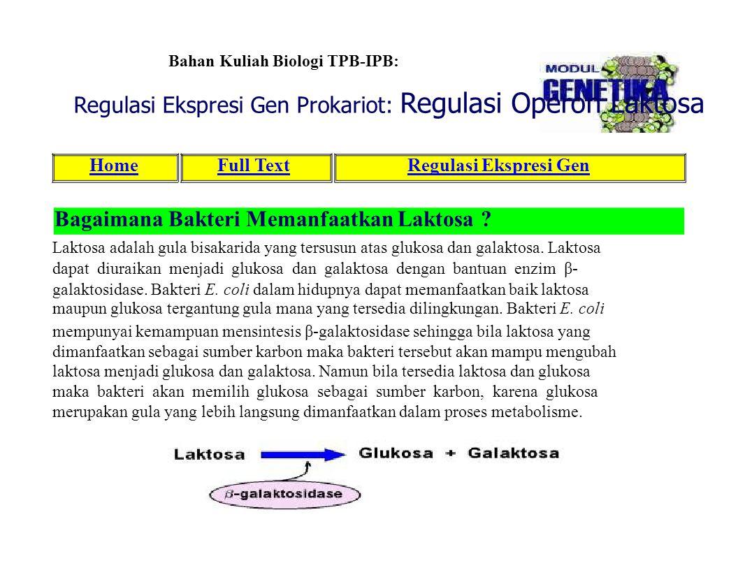 Regulasi Ekspresi Gen Prokariot: Regulasi Operon Laktosa