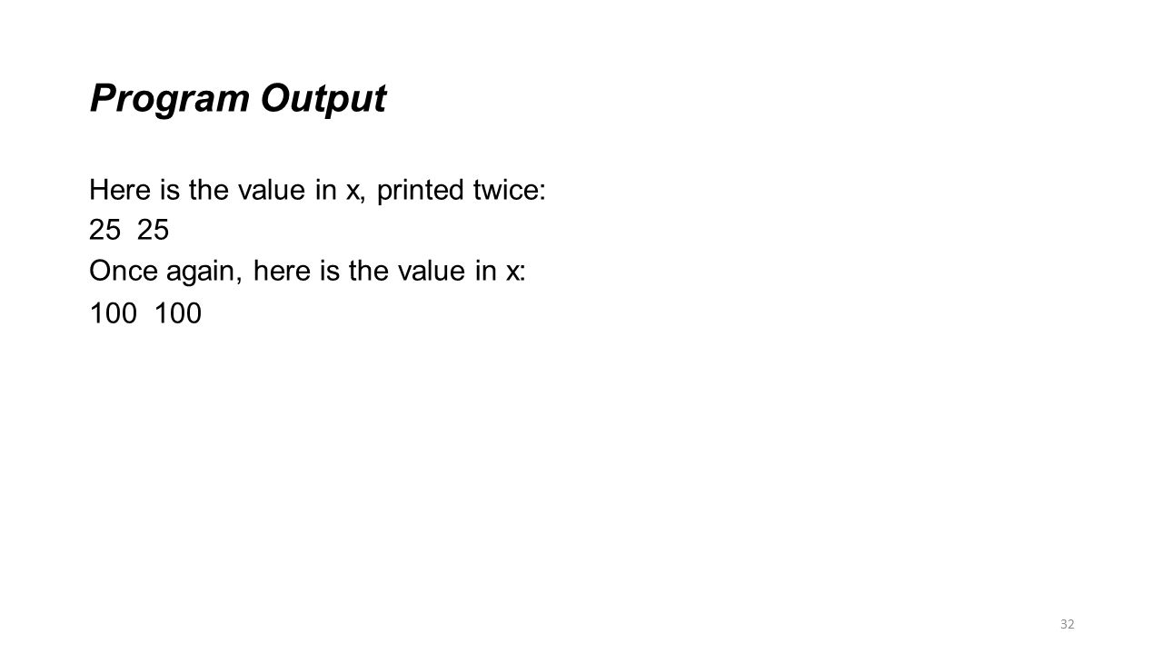 Program Output Here is the value in x, printed twice: 25 25
