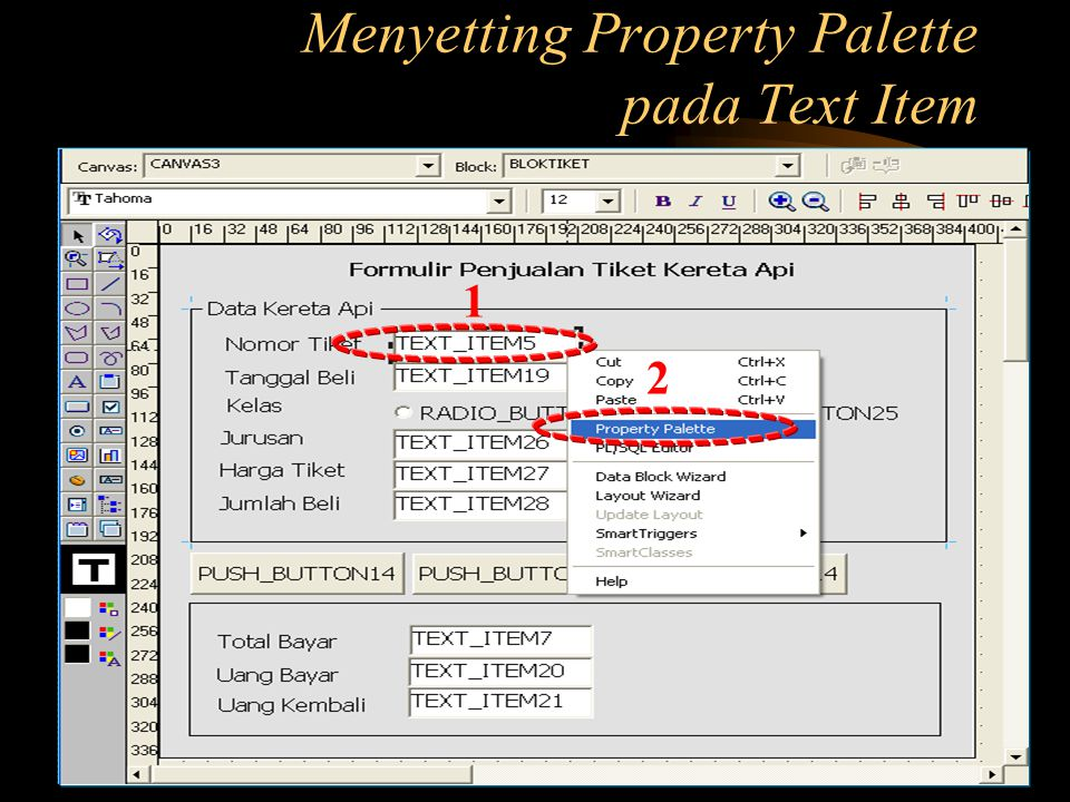 Menyetting Property Palette pada Text Item