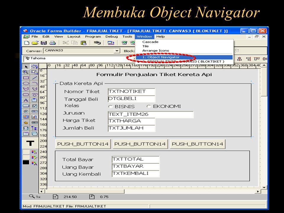 Membuka Object Navigator