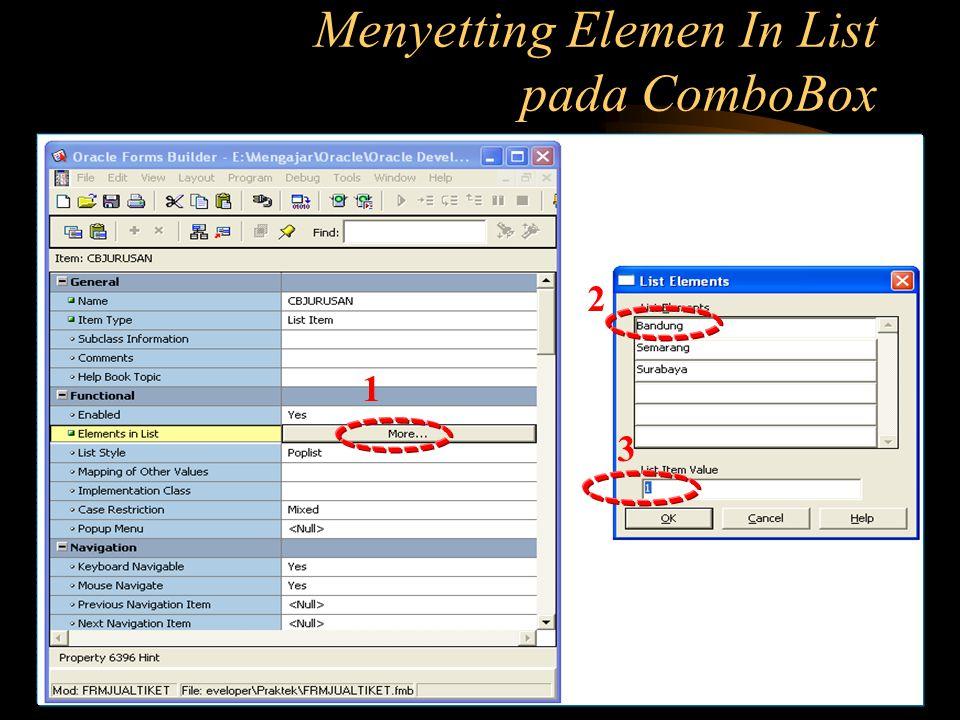 Menyetting Elemen In List pada ComboBox