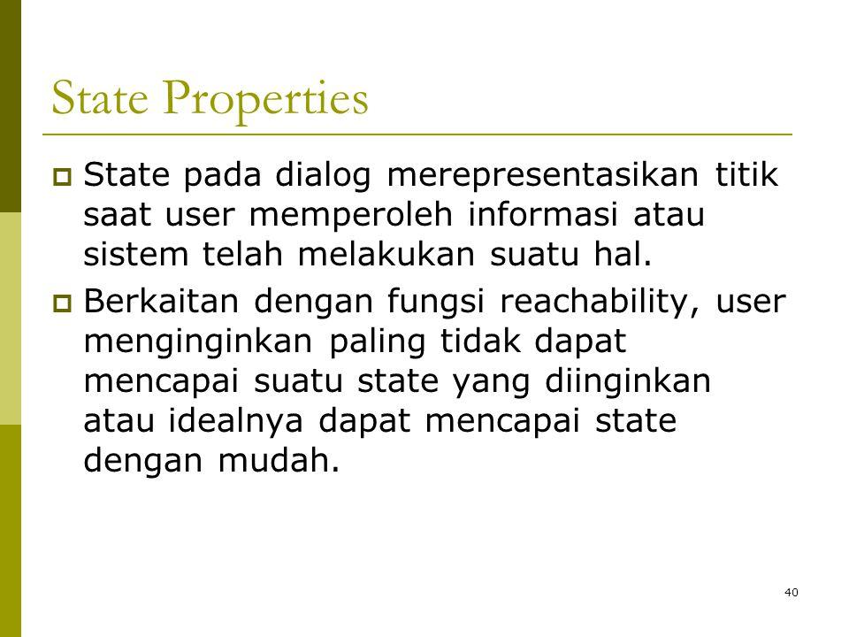 State Properties State pada dialog merepresentasikan titik saat user memperoleh informasi atau sistem telah melakukan suatu hal.