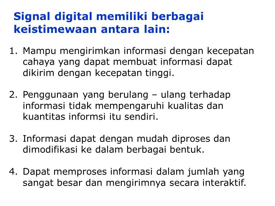 Signal digital memiliki berbagai keistimewaan antara lain: