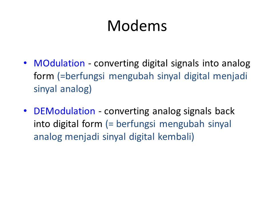Modems MOdulation - converting digital signals into analog form (=berfungsi mengubah sinyal digital menjadi sinyal analog)