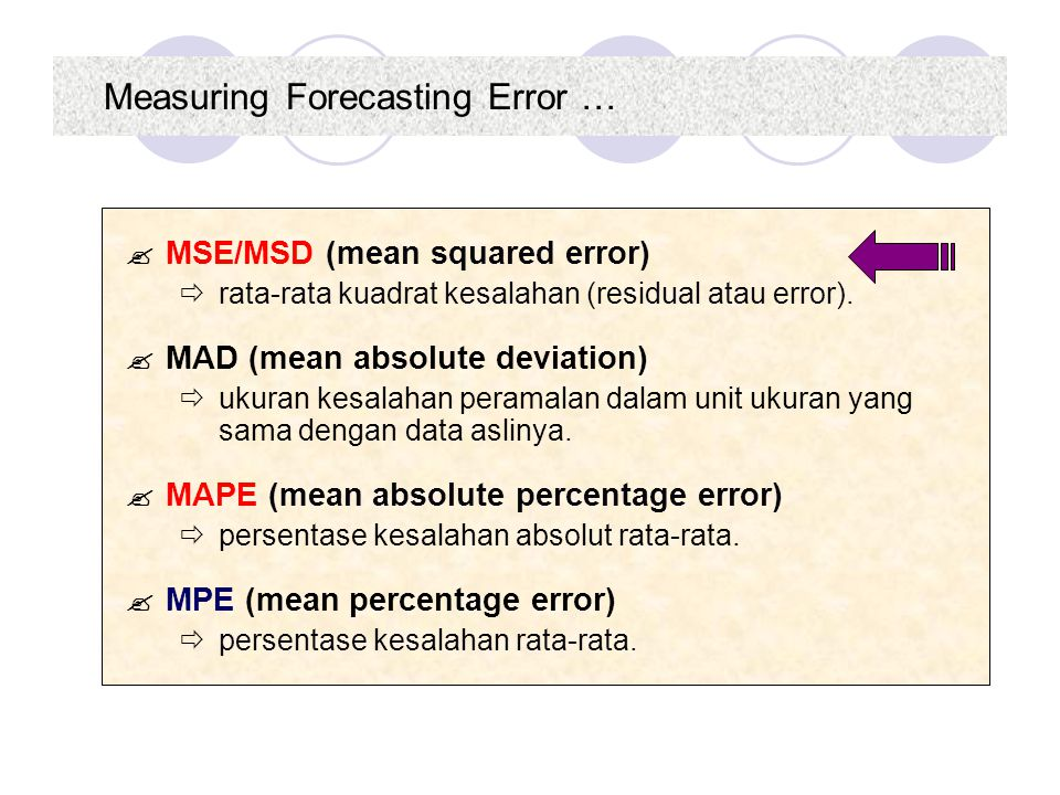 Measuring Forecasting Error …