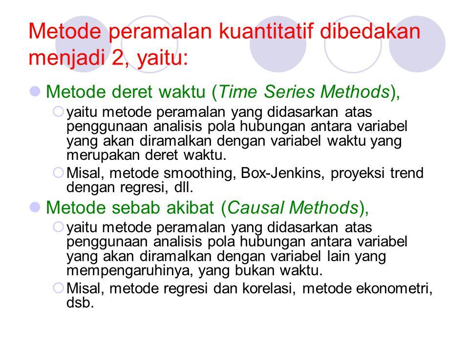 Metode peramalan kuantitatif dibedakan menjadi 2, yaitu: