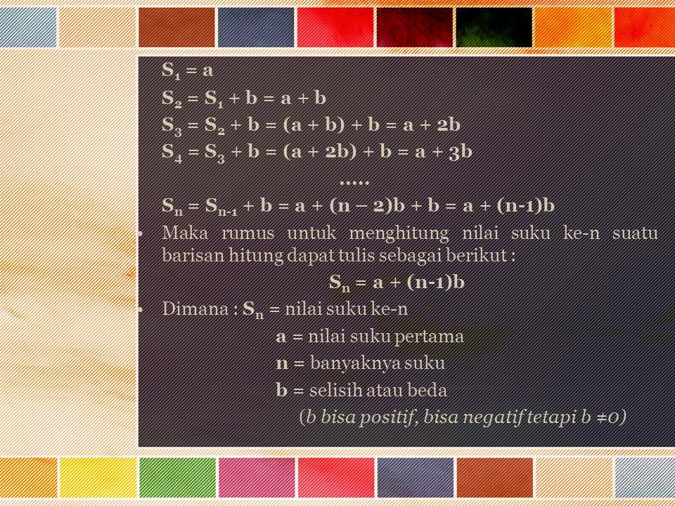 S1 = a S2 = S1 + b = a + b S3 = S2 + b = (a + b) + b = a + 2b