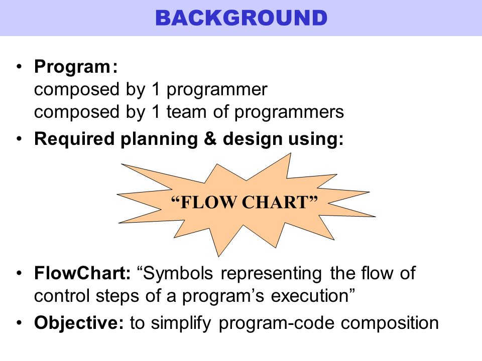 BACKGROUND Program : composed by 1 programmer composed by 1 team of programmers. Required planning & design using: