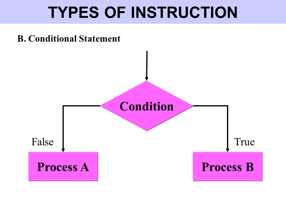 TYPES OF INSTRUCTION Condition Process A Process B False True