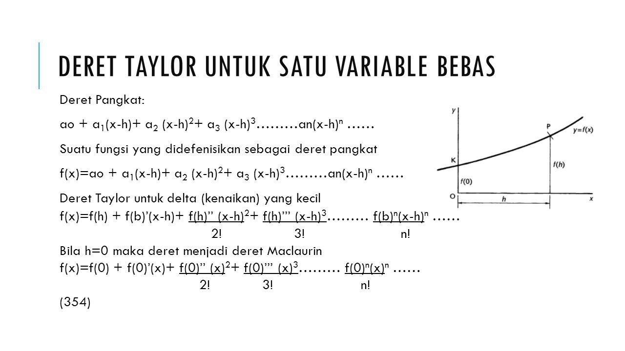 Deret taylor untuk satu variable bebas