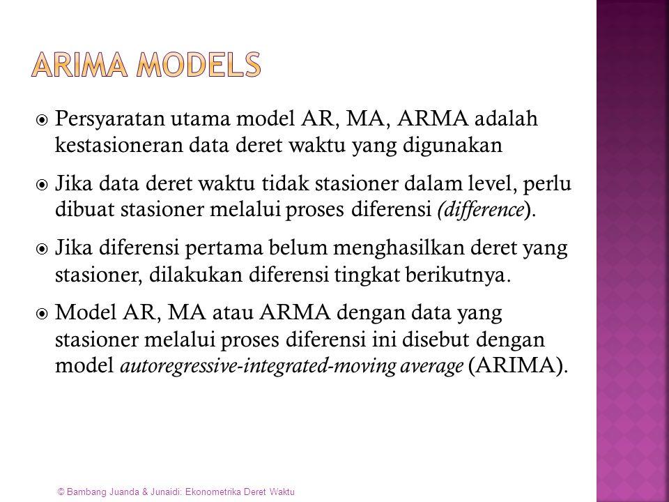 ARIMA models Persyaratan utama model AR, MA, ARMA adalah kestasioneran data deret waktu yang digunakan.