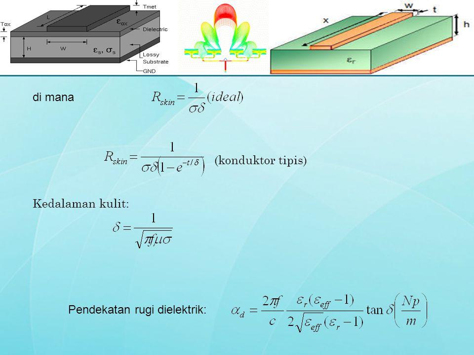 di mana (konduktor tipis) Kedalaman kulit: Pendekatan rugi dielektrik: