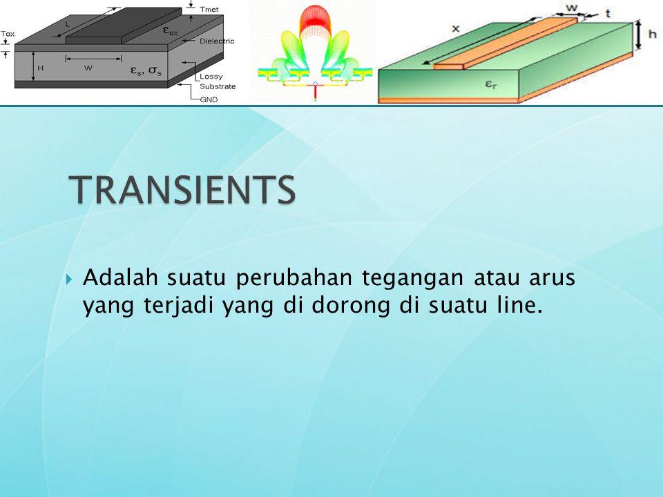 TRANSIENTS Adalah suatu perubahan tegangan atau arus yang terjadi yang di dorong di suatu line.