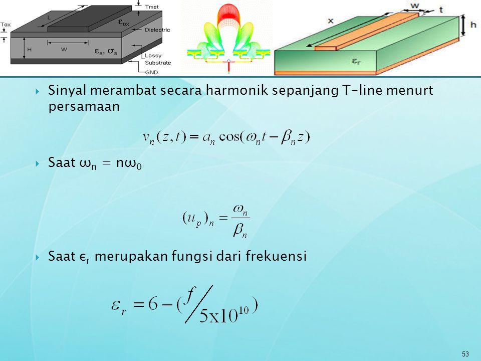 Sinyal merambat secara harmonik sepanjang T-line menurt persamaan