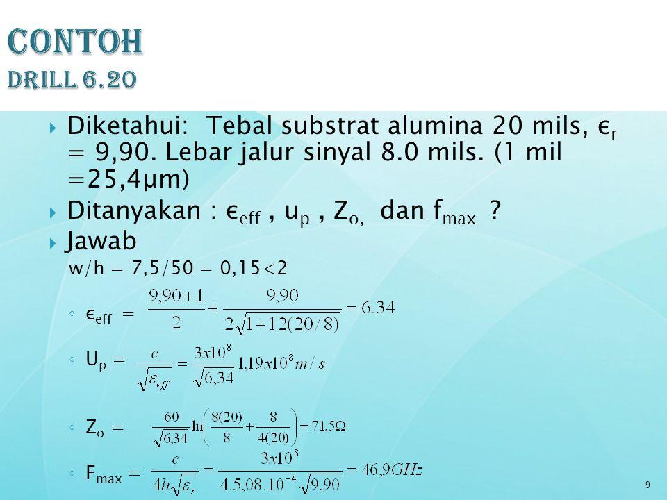 Contoh Drill 6.20 Diketahui: Tebal substrat alumina 20 mils, εr = 9,90. Lebar jalur sinyal 8.0 mils. (1 mil =25,4μm)