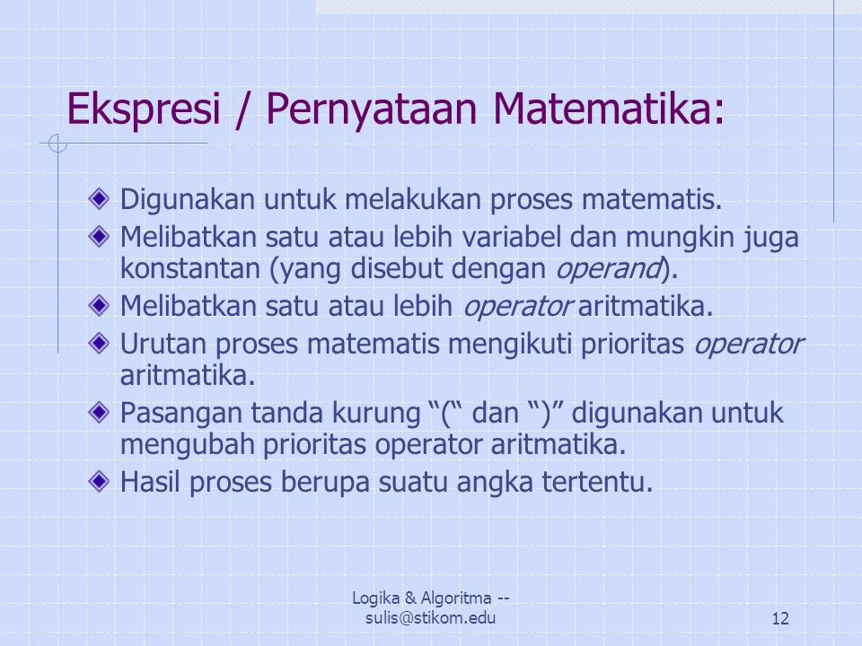 Ekspresi / Pernyataan Matematika: