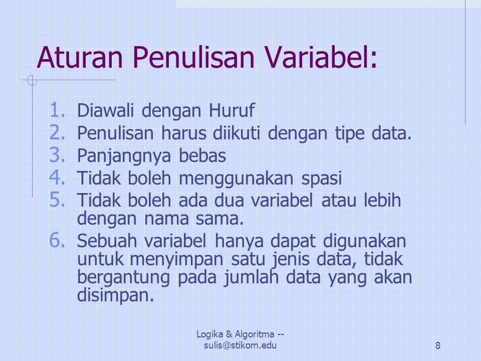 Aturan Penulisan Variabel: