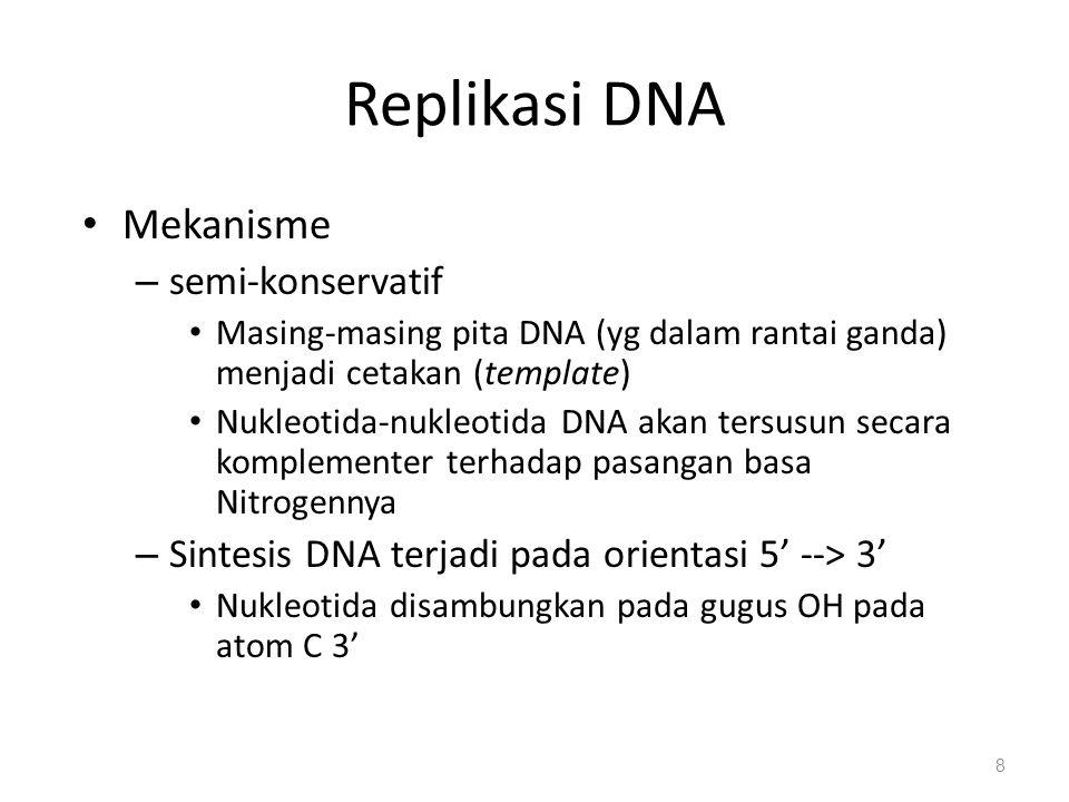 Replikasi DNA Mekanisme semi-konservatif