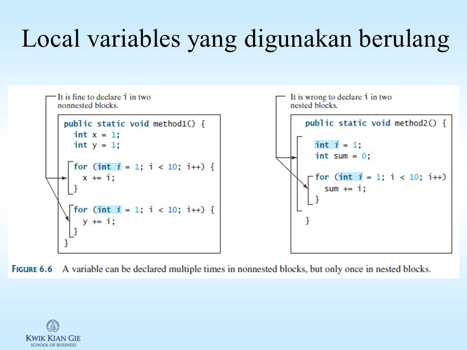 Local variables yang digunakan berulang