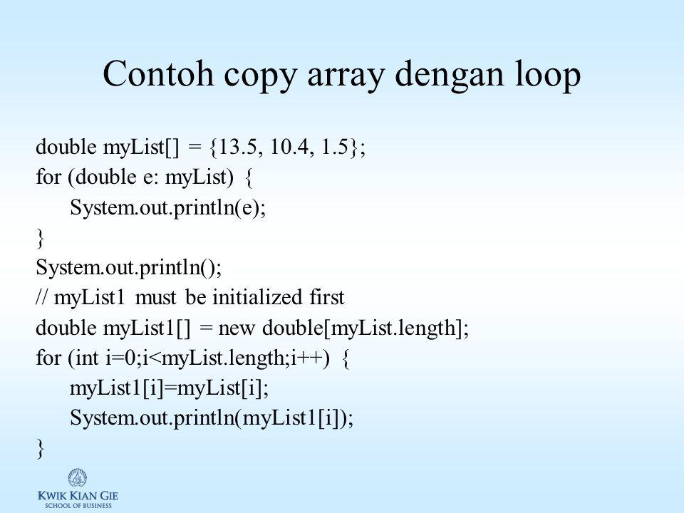 Contoh copy array dengan loop