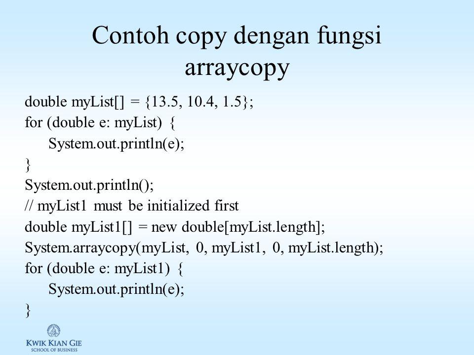 Contoh copy dengan fungsi arraycopy