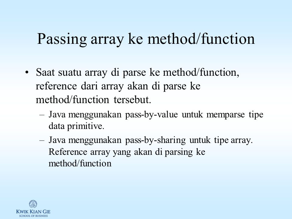 Passing array ke method/function