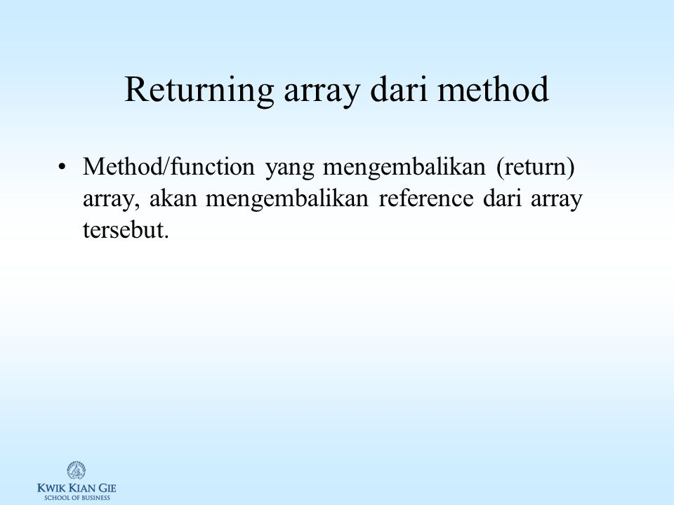 Returning array dari method