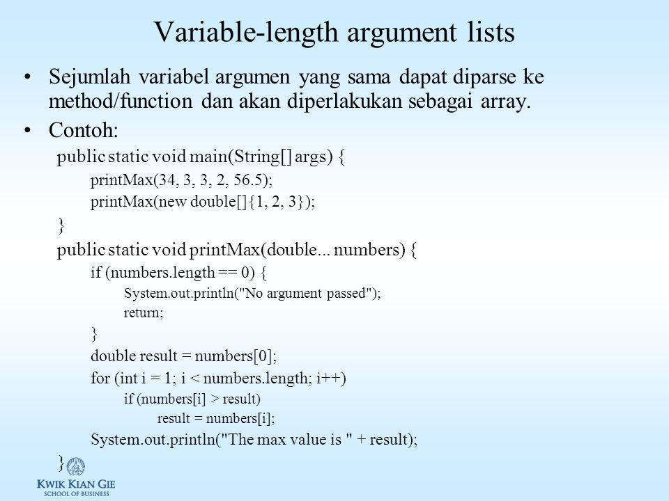 Variable-length argument lists