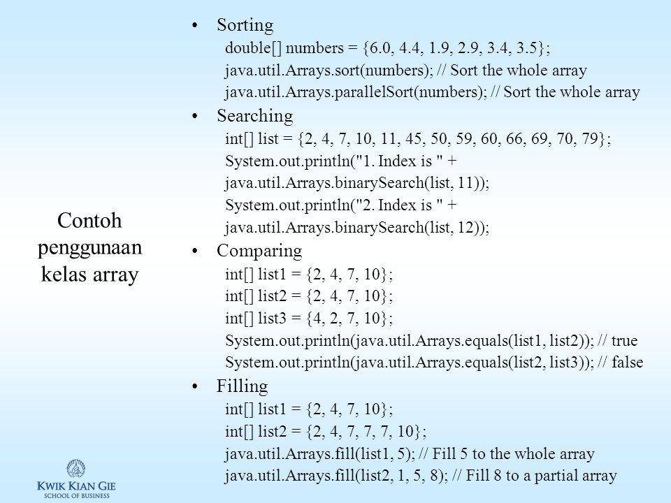 Contoh penggunaan kelas array