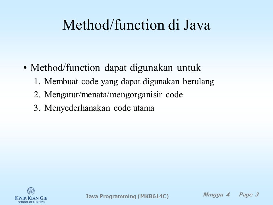 Method/function di Java