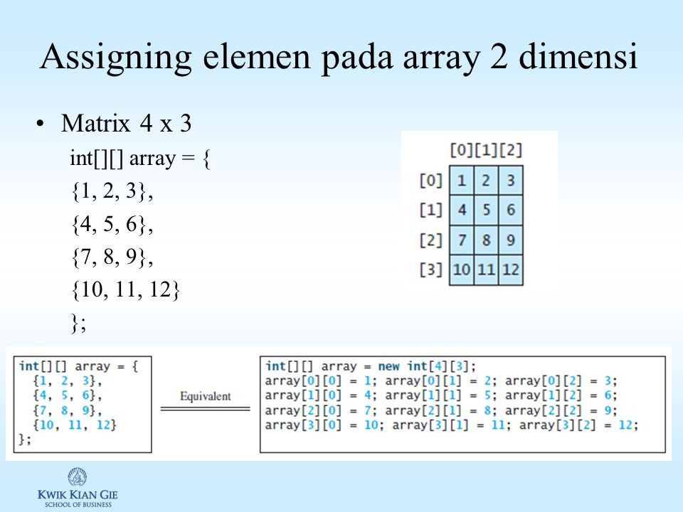 Assigning elemen pada array 2 dimensi