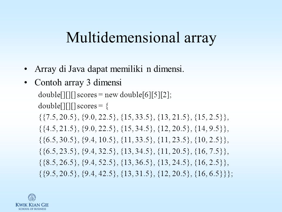 Multidemensional array
