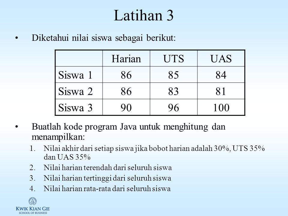 Latihan 3 Harian UTS UAS Siswa 1 86 85 84 Siswa 2 83 81 Siswa 3 90 96