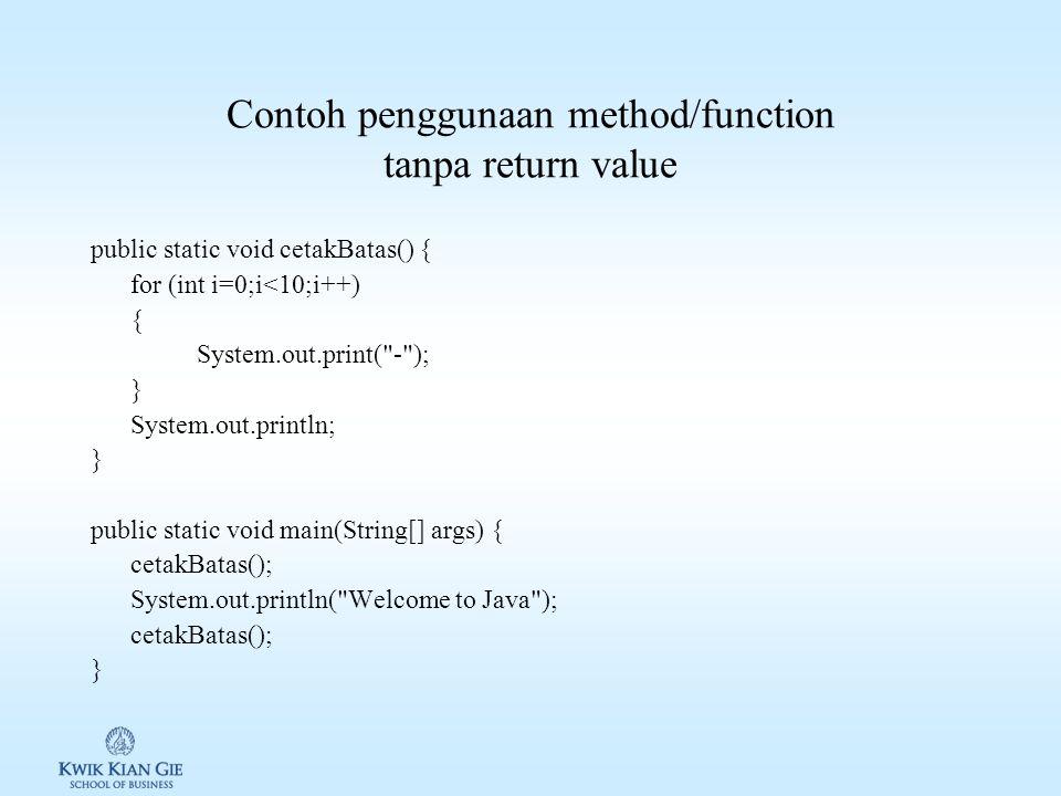 Contoh penggunaan method/function tanpa return value