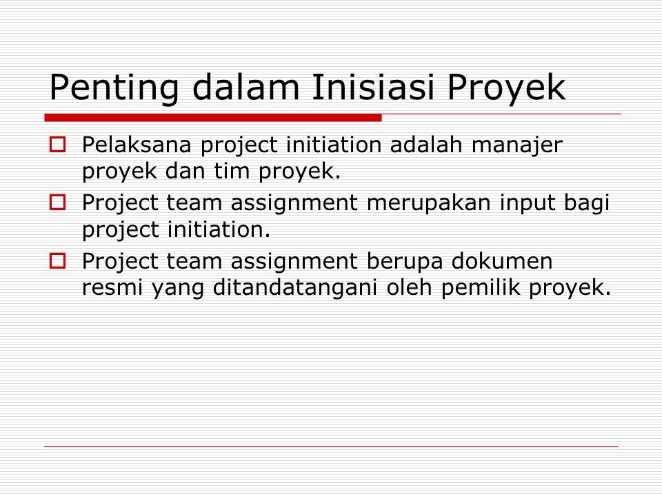 Penting dalam Inisiasi Proyek