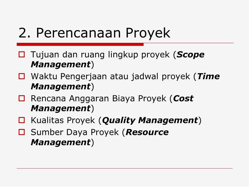 2. Perencanaan Proyek Tujuan dan ruang lingkup proyek (Scope Management) Waktu Pengerjaan atau jadwal proyek (Time Management)