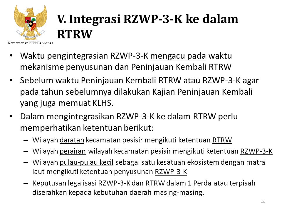 V. Integrasi RZWP-3-K ke dalam RTRW