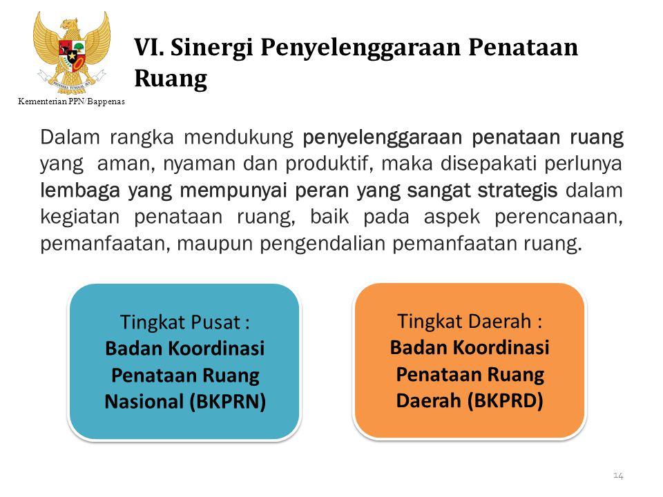 VI. Sinergi Penyelenggaraan Penataan Ruang