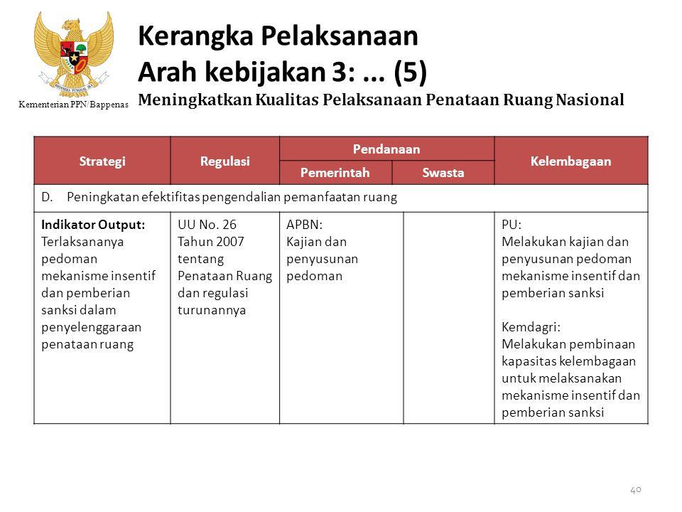 Kerangka Pelaksanaan Arah kebijakan 3: