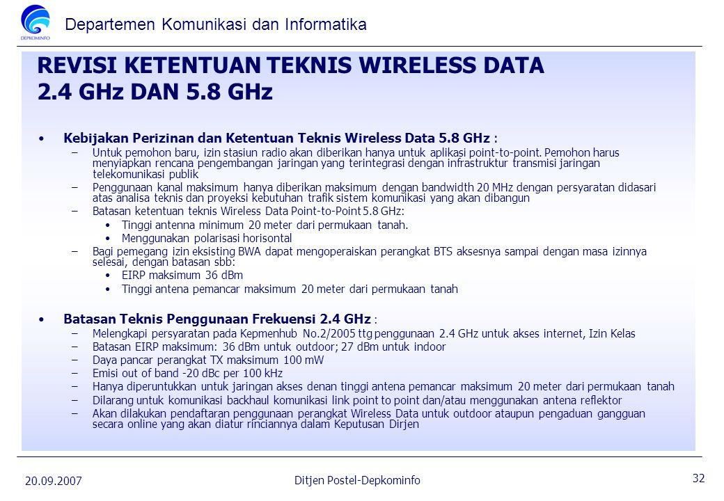 REVISI KETENTUAN TEKNIS WIRELESS DATA 2.4 GHz DAN 5.8 GHz