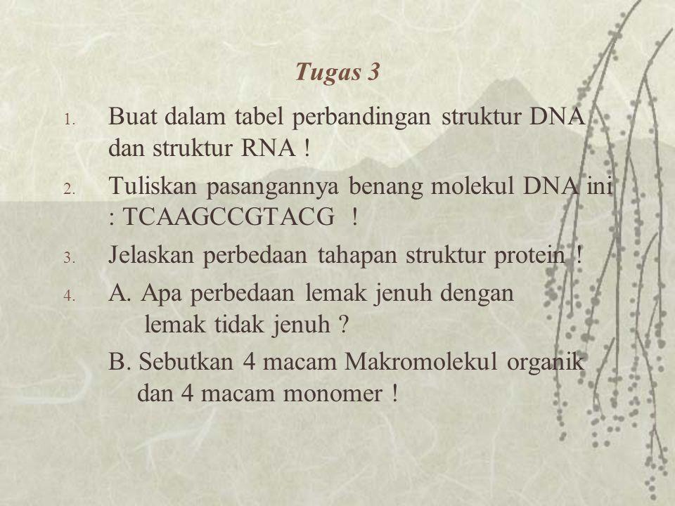 Tugas 3 Buat dalam tabel perbandingan struktur DNA dan struktur RNA ! Tuliskan pasangannya benang molekul DNA ini : TCAAGCCGTACG !