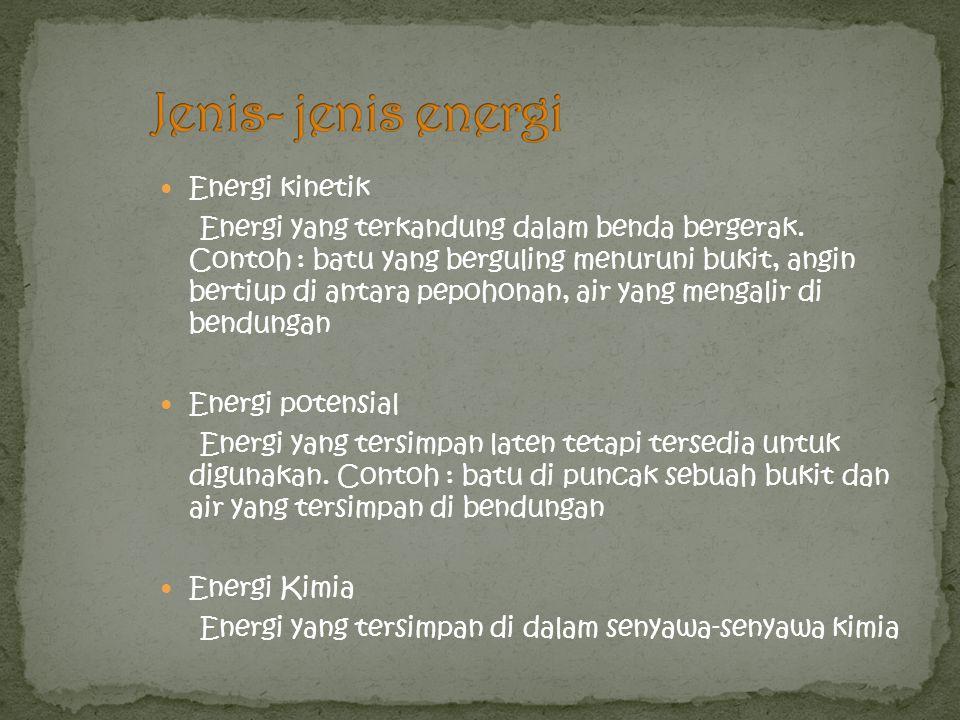 Jenis- jenis energi Energi kinetik