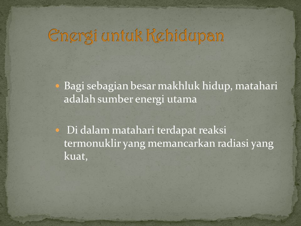 Energi untuk Kehidupan