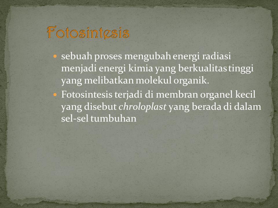 Fotosintesis sebuah proses mengubah energi radiasi menjadi energi kimia yang berkualitas tinggi yang melibatkan molekul organik.