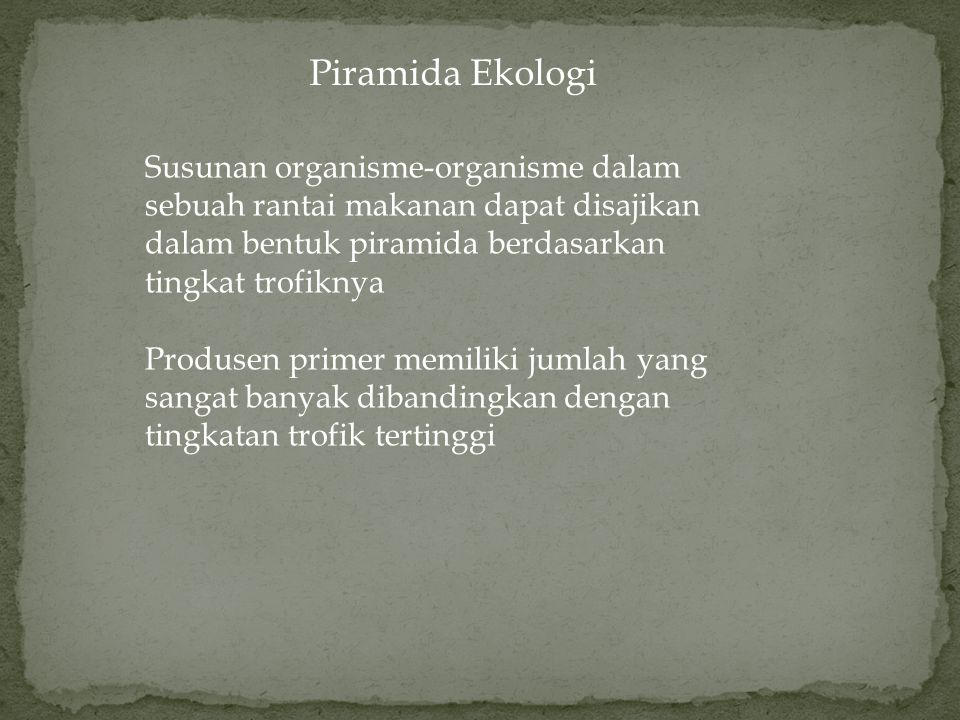 Piramida Ekologi Susunan organisme-organisme dalam sebuah rantai makanan dapat disajikan dalam bentuk piramida berdasarkan tingkat trofiknya.