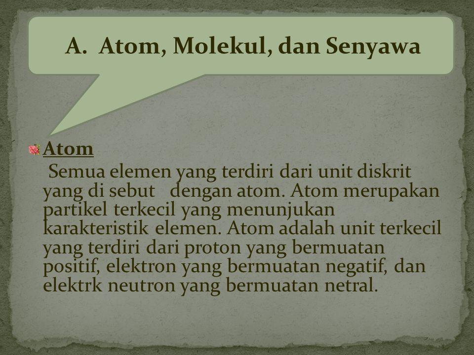 A. Atom, Molekul, dan Senyawa
