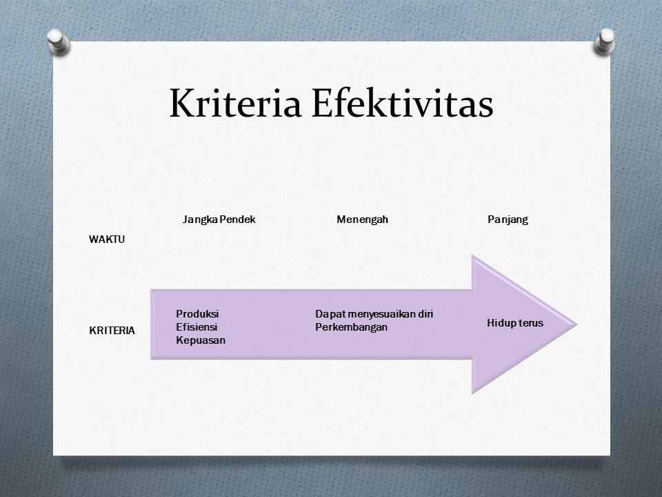 Kriteria Efektivitas Produksi Efisiensi Kepuasan