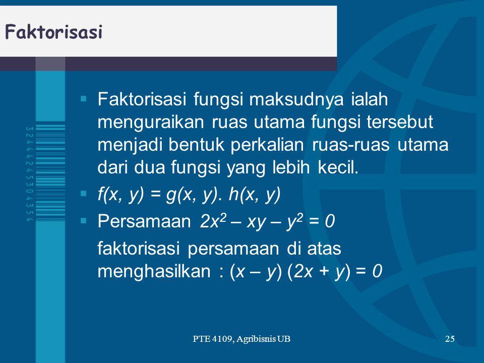 faktorisasi persamaan di atas menghasilkan : (x – y) (2x + y) = 0