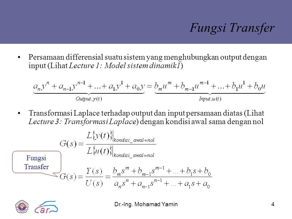 Fungsi Transfer Persamaan differensial suatu sistem yang menghubungkan output dengan input (Lihat Lecture 1: Model sistem dinamik1)